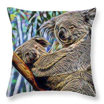 Koala Bear Mom And Child Throw Pillow