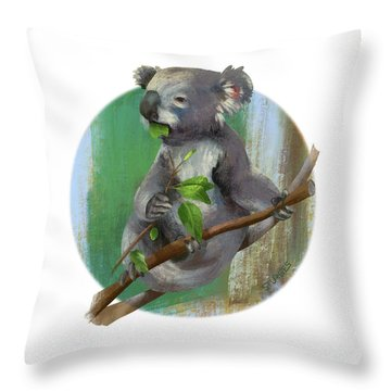 Koala Eating Throw Pillow