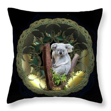 Koala Throw Pillow by Julie Grace