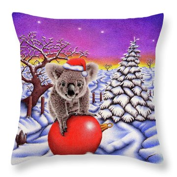 Koala On Christmas Ball Throw Pillow