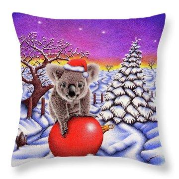 Koala On Christmas Ball Throw Pillow