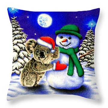 Koala With Snowman Throw Pillow