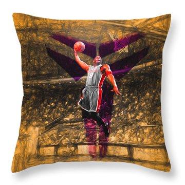 Kobe Bryant Black Mamba Digital Painting Throw Pillow by David Haskett