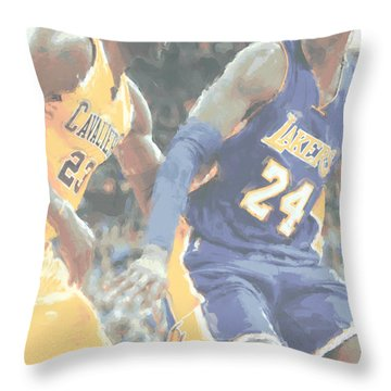 Kobe Bryant Lebron James 2 Throw Pillow by Joe Hamilton