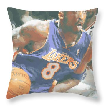 Kobe Bryant Lebron James Throw Pillow by Joe Hamilton