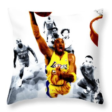 Kobe Bryant Took Flight Throw Pillow by Brian Reaves