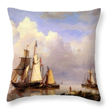 Koekkoek Hermanus Vessels At Anchor In Estuary With Fisherman Throw Pillow