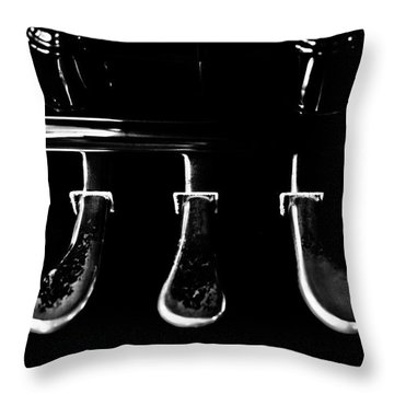 Kohler And Cambell Pedals Black And White Throw Pillow by Sam Hymas