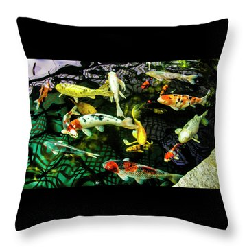 Throw Pillow featuring the photograph Koi 2018 1 by Phyllis Spoor