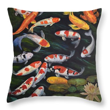Koi Among The Lily Pads II Throw Pillow