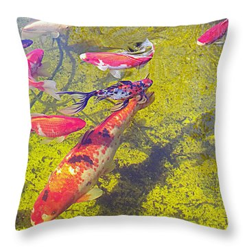 Koi And Friends Throw Pillow