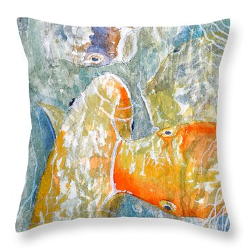 Koi Carp Feeding Frenzy Throw Pillow by Bill Holkham
