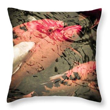 Koi Carps Throw Pillow by Perry Van Munster