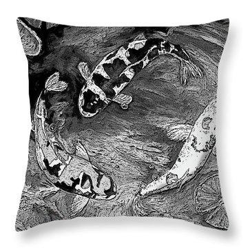Koi Dance Bw Throw Pillow by Sandra Nardone