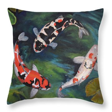 Koi Dance II Throw Pillow