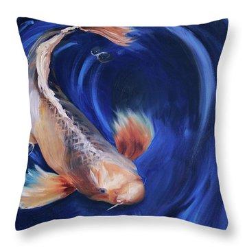 Koi Throw Pillow by Donna Tuten