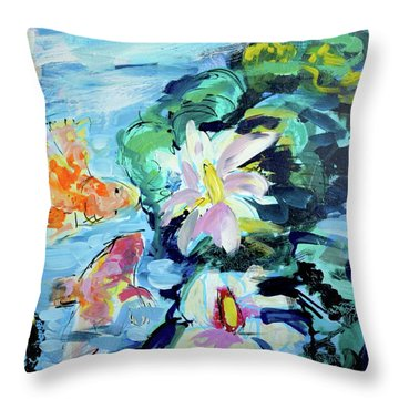 Koi Fish And Water Lilies Throw Pillow