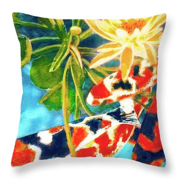 Koi Fish #104 Throw Pillow by Donald k Hall