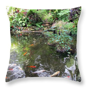 Koi Garden Throw Pillow by Loretta Luglio