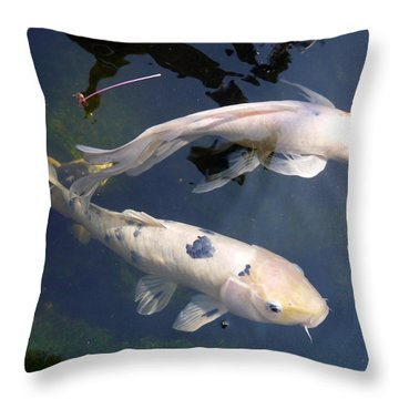Koi In Serenity Pool Throw Pillow