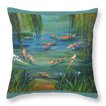Koi In The  Willows Throw Pillow