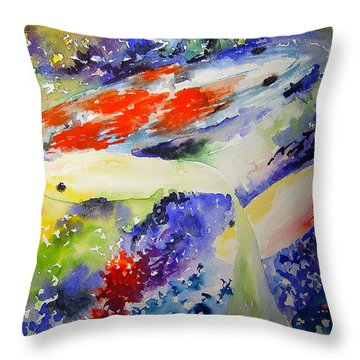 Koi Throw Pillow by Joanne Smoley