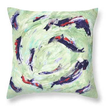 Throw Pillow featuring the painting Koi Joy by Kathryn Riley Parker