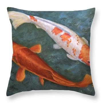 Koi Pair Throw Pillow