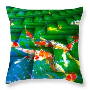 Koi Mosaic I Throw Pillow