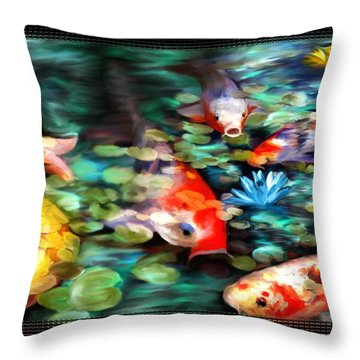 Koi Paradise Throw Pillow by Susan Kinney