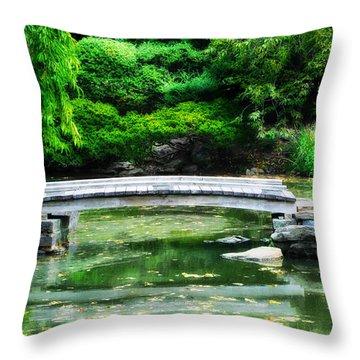 Koi Pond Bridge - Japanese Garden Throw Pillow by Bill Cannon