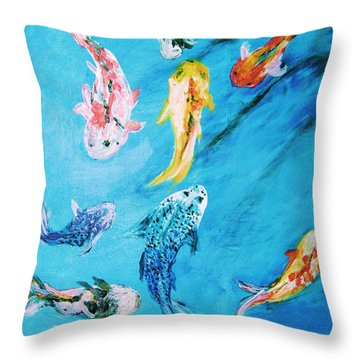Throw Pillow featuring the painting Swimming Koi Fish From The Water Series by Donna Dixon