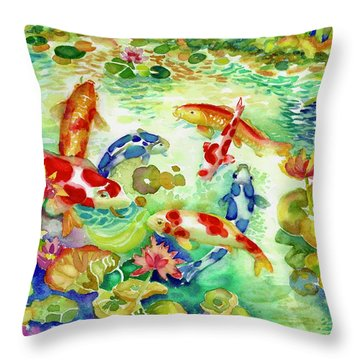 Koi Pond I Throw Pillow