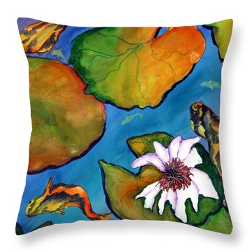 Throw Pillow featuring the painting Koi Pond II Sold by Lil Taylor
