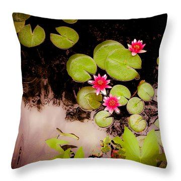 Koi Pond With Water Lilies Throw Pillow by Heidi Hermes