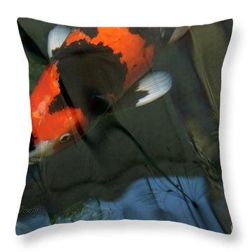 Koi Reflection Throw Pillow