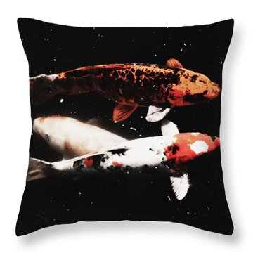 Throw Pillow featuring the photograph Koi Trio  by Deborah  Crew-Johnson