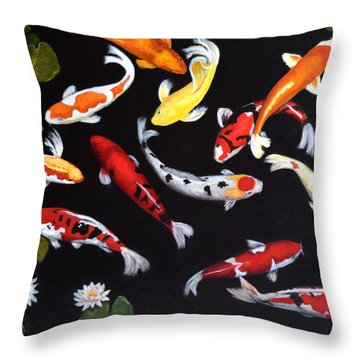 Koi V Throw Pillow