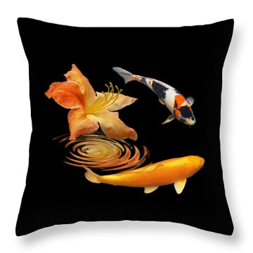 Koi With Azalea Ripples Throw Pillow