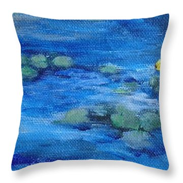 Koi With Water Lilies Throw Pillow by Annie St Martin