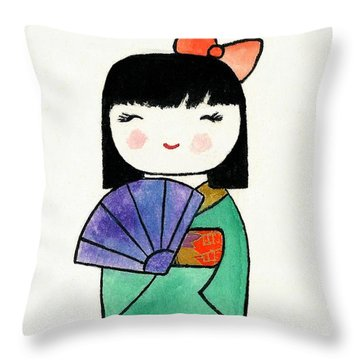Kokeshi Doll Throw Pillow