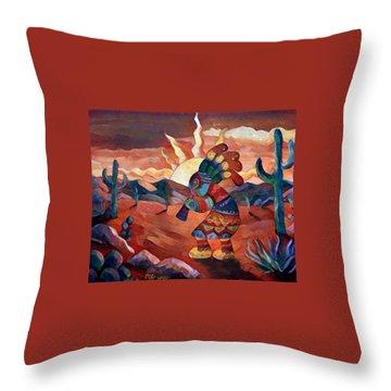 Kokopelli A Throw Pillow by Megan Walsh