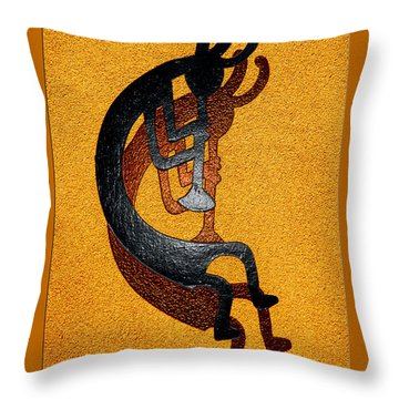 Kokopelli Golden Harvest Throw Pillow