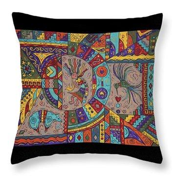 Kokopelli Mandala Throw Pillow
