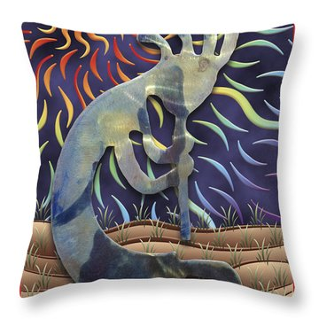 Kokopelli Spring Throw Pillow