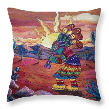 Kokopelli Sunset Throw Pillow