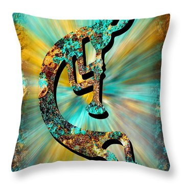 Kokopelli Turquoise And Gold Throw Pillow