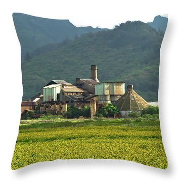 Koloa Sugar Mill Throw Pillow by Roger Mullenhour