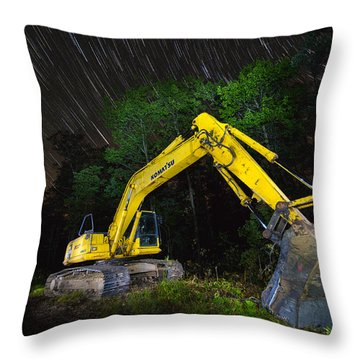 Komatsu Back Hoe Throw Pillow