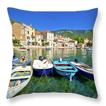 Komiza On Vis Island Turquoise Waterfront Throw Pillow by Brch Photography